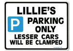 LILLIE'S Personalised Parking Sign Gift | Unique Car Present for Her |  Size Large - Metal faced